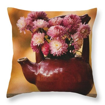 Throw Pillow featuring the photograph Mums In A Teapot Still Life by Peggy Collins