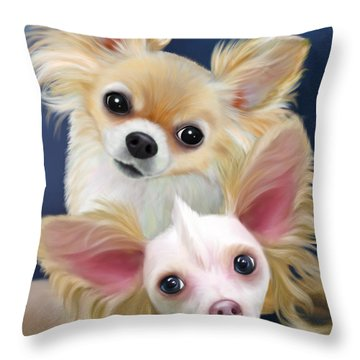 Munchie And Tuffy Throw Pillow by Catia Cho
