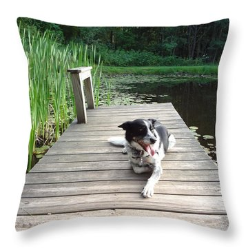 Throw Pillow featuring the photograph Mundee On The Dock by Michael Porchik