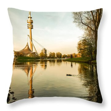 Munich - Olympiapark - Vintage Throw Pillow by Hannes Cmarits