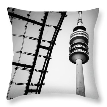 Munich - Olympiaturm And The Roof - Bw Throw Pillow