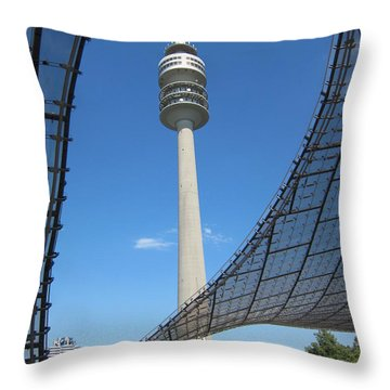 Throw Pillow featuring the photograph Munich Olympic Tower by Pema Hou