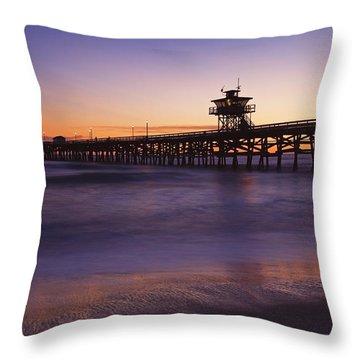 Municipal Pier At Sunset San Clemente Throw Pillow by Richard Cummins
