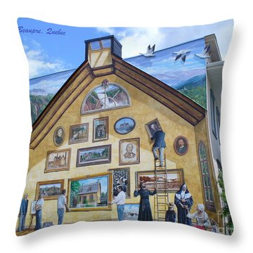Mural In Beaupre Quebec Throw Pillow by Lingfai Leung