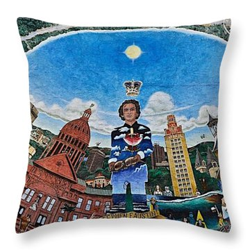 Mural Of Stephen F Austin Off Guadalupe Throw Pillow