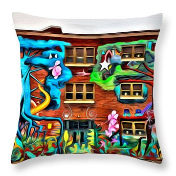 Mural On School Throw Pillow by Alice Gipson