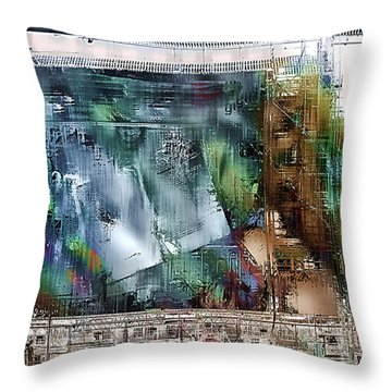 Mural Under Construction Throw Pillow by Barbara D Richards