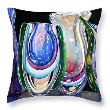 Throw Pillow featuring the painting Murano Crystal by Roger Rockefeller