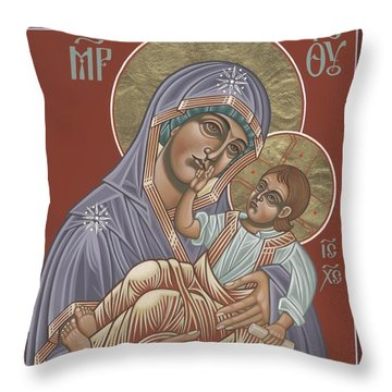 Throw Pillow featuring the painting Murom Icon Of The Mother Of God 230 by William Hart McNichols