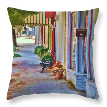 Throw Pillow featuring the photograph Murphy Nc Sidewalk by Kenny Francis
