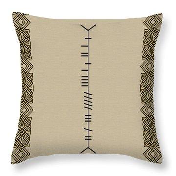 Throw Pillow featuring the digital art Murphy Written In Ogham by Ireland Calling