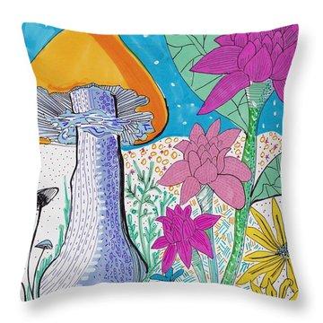 Murshroom Flowers And Fields Throw Pillow