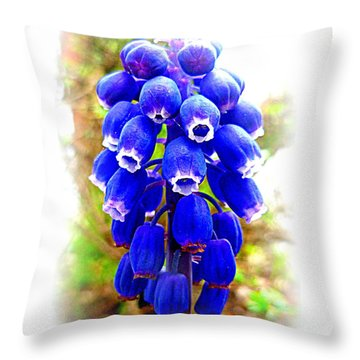 Muscari Grape Hyacinth Throw Pillow by The Creative Minds Art and Photography