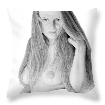 Throw Pillow featuring the pastel Muse by Joseph Ogle