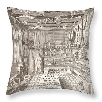 Museum Of Ole Worm, Leiden, 1655 Engraving Throw Pillow