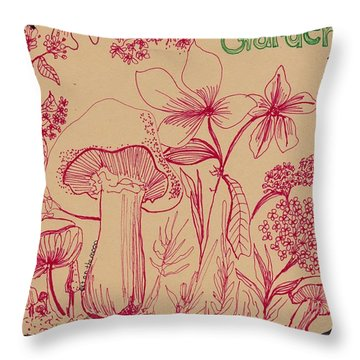 Mushroom Botanical Throw Pillow