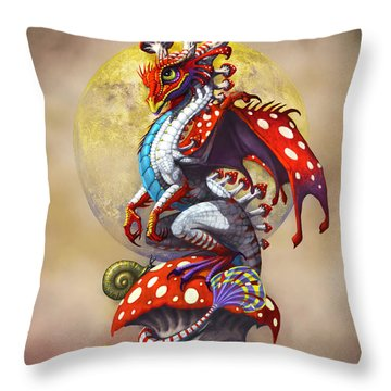 Mushroom Dragon Throw Pillow by Stanley Morrison
