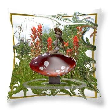Mushroom Fairy Throw Pillow by Jennifer Schwab