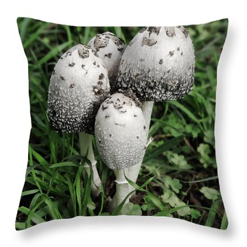 Mushroom Family Of Four Throw Pillow