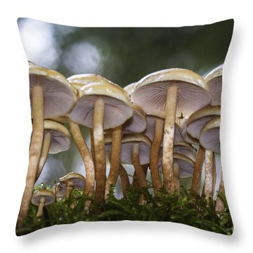 Mushroom Forest Throw Pillow by Sonya Lang