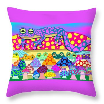 Mushroom Meadow Frogs Throw Pillow