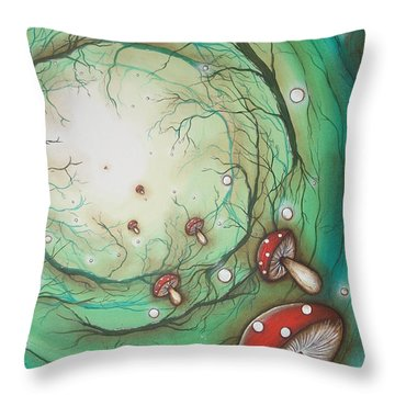 Mushroom Time Tunel Throw Pillow