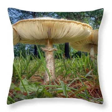 Mushroom Trio Throw Pillow by Martin Konopacki