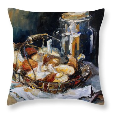 Mushrooms Throw Pillow by Barbara Pommerenke