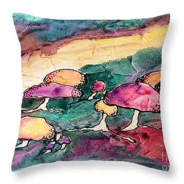 Mushrooms Throw Pillow by Barbara Tibbets