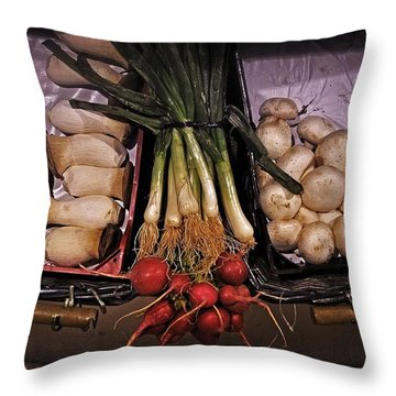 Mushrooms In The Seville Market  Throw Pillow by Mary Machare