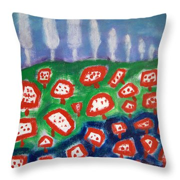 Throw Pillow featuring the painting Mushrooms by Michael Dohnalek