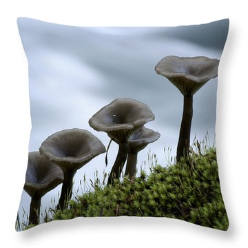 Throw Pillow featuring the photograph Mushrooms On Moss by Betty Depee