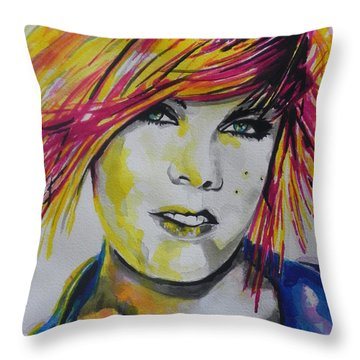 Music Artist..pink Throw Pillow by Chrisann Ellis