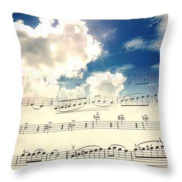 #music #blueskies Throw Pillow by Katie Taylor