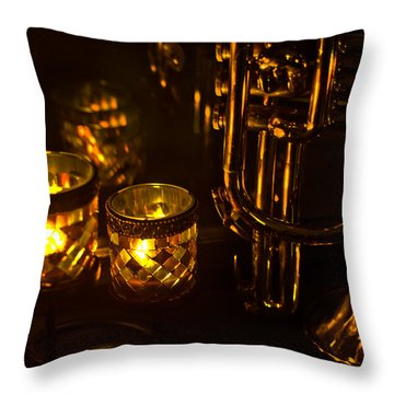 Trumpet And Candlelight Throw Pillow