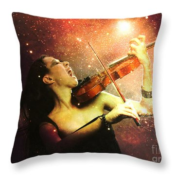 Music Explodes In The Night Throw Pillow by Linda Lees