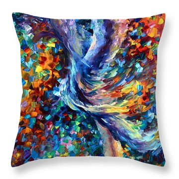Music Flight Throw Pillow by Leonid Afremov