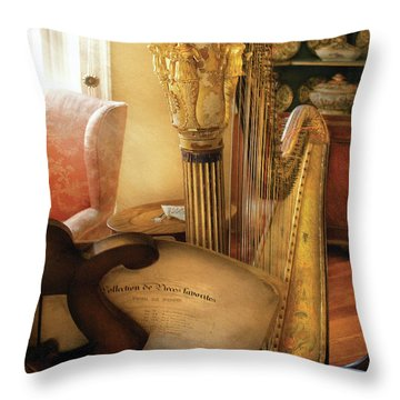 Music - Harp - The Harp Throw Pillow by Mike Savad