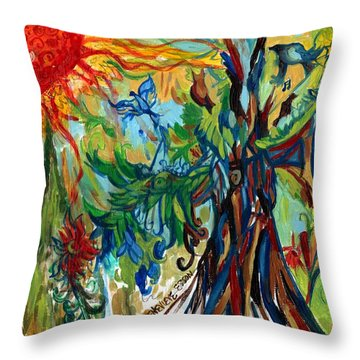 Music In Bird Of Tree Throw Pillow by Genevieve Esson