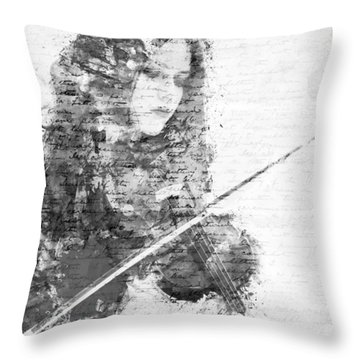 Music In My Soul Black And White Throw Pillow by Nikki Marie Smith