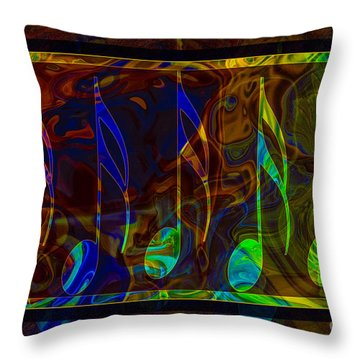 Throw Pillow featuring the digital art Music Is Magical Abstract Healing Art by Omaste Witkowski