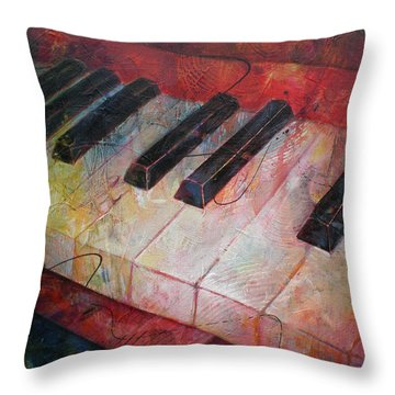 Music Is The Key - Painting Of A Keyboard Throw Pillow by Susanne Clark