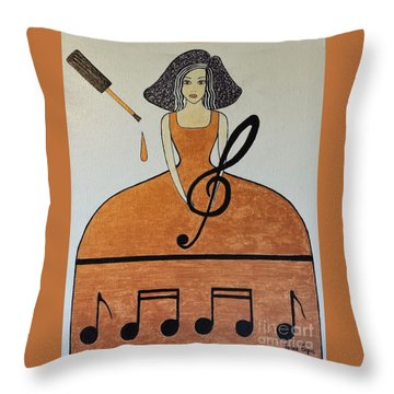 Music Lover Throw Pillow by Jasna Gopic