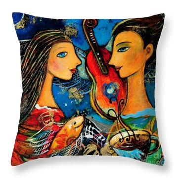 Music Lovers Throw Pillow by Shijun Munns