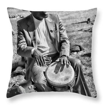 Music Man On Hippie Hill By Diana Sainz Throw Pillow by Diana Sainz