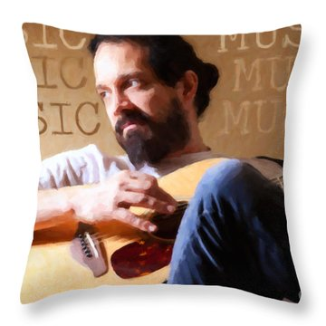 Music Man Throw Pillow by Sharon Dominick