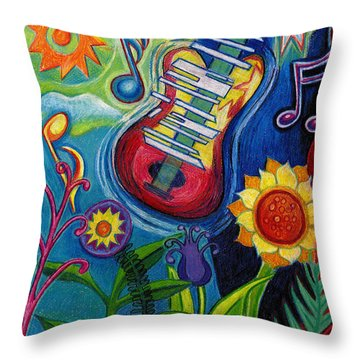 Music On Flowers Throw Pillow by Genevieve Esson