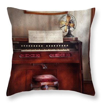 Music - Organist - My Grandmothers Organ Throw Pillow by Mike Savad