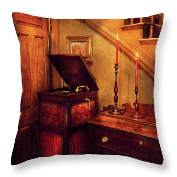 Music - Record - The Victrola Throw Pillow by Mike Savad