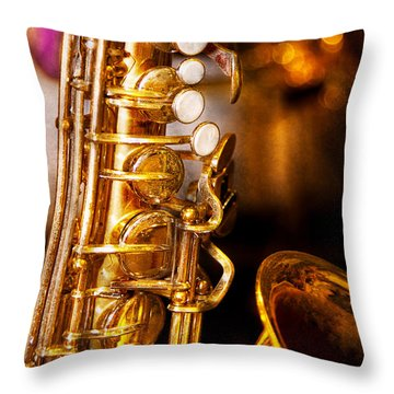 Music - Sax - Sweet Jazz  Throw Pillow by Mike Savad